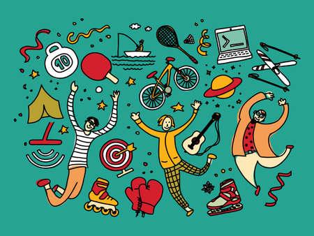 Group men and hobbies sports hiking fishing. Color vector illustration EPS8 Ilustração