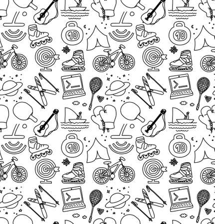 Hobbies men objects sport tourism coding monochrome seamless pattern. Black and white vector illustration EPS8