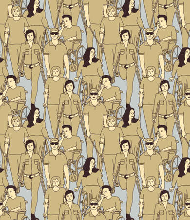 People with disabilities seamless pattern. Color vector illustration EPS8