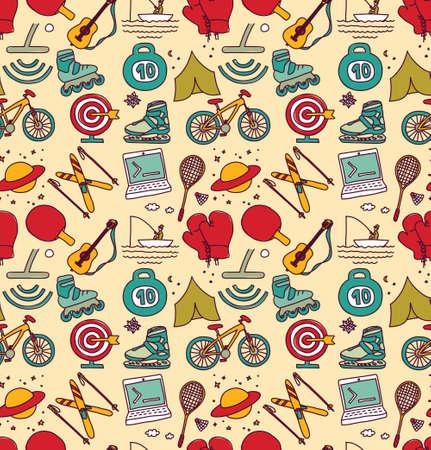 Hobbies men objects sport tourism coding seamless pattern. Color vector illustration EPS8
