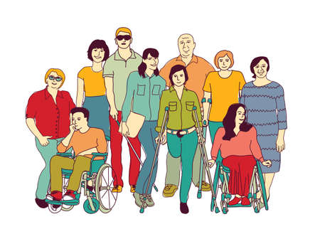 Group people community with disabilities color. Color vector illustration EPS8