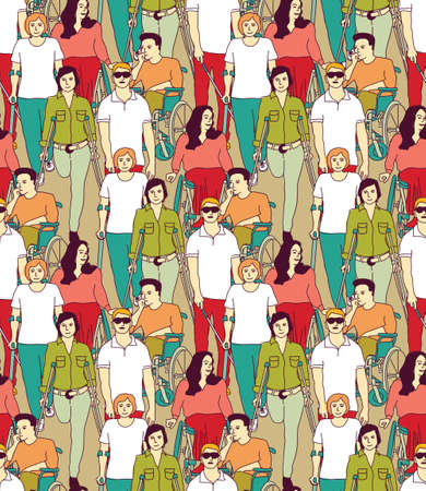 People with disabilities color seamless pattern. Color vector illustration EPS8