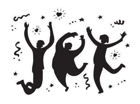 Happy jumping group people silhouette black and white. Monochrome vector illustration EPS8