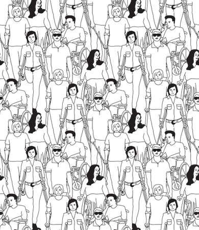 Les personnes handicapées modèle sans couture noir et blanc. Illustration vectorielle monochrome Eps8 Vecteurs