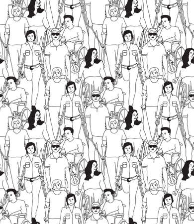 People with disabilities black and white seamless pattern. Monochrome vector illustration EPS8 Banque d'images - 124765467
