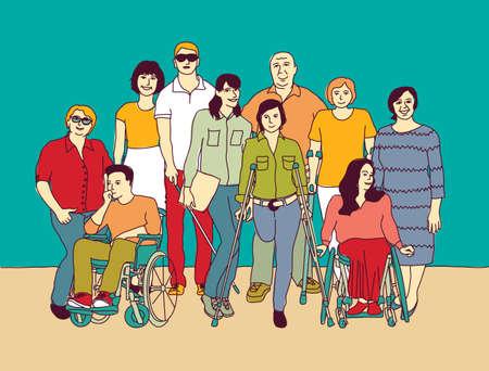 Group people community with disabilities wheelchair handicap. Color vector illustration EPS8 Ilustração