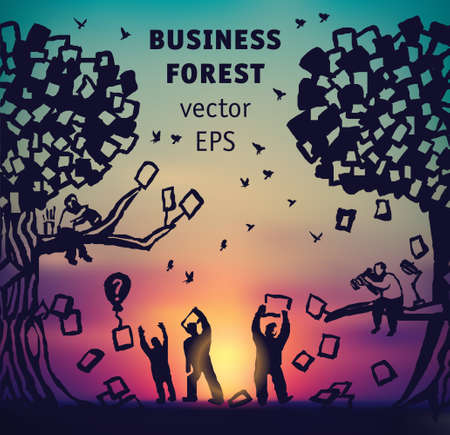Abstract business forest people and documents silhouette and sky Banque d'images - 122168891