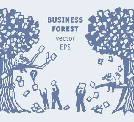 Abstract business forest people and documents