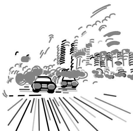Car night city abstract urban street black and white. Monochrome vector illustration EPS8 Banque d'images - 124080231