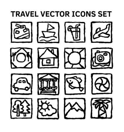 Travel journey tour trip voyage sea rest black and white icons set Banque d'images - 122168895