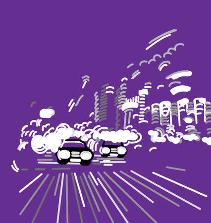 Car night city abstract urban street. Color vector illustration EPS8
