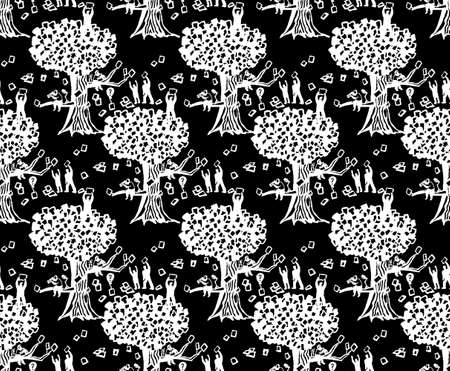 Abstract business three people and documents dark seamless pattern. Monochrome vector illustration EPS8 Banque d'images - 123885724