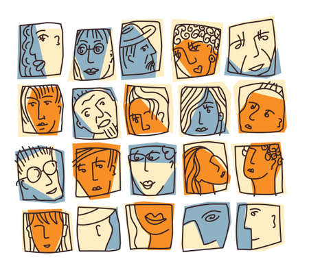 People abstract faces avatars characters icons set. Color vector illustration EPS8