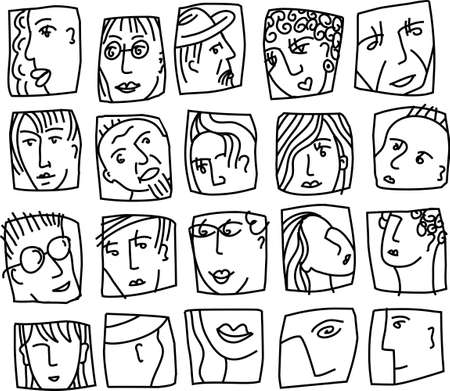 People abstract faces avatars characters black and white icons set. Monochrome vector illustration EPS8 Banque d'images - 122345137