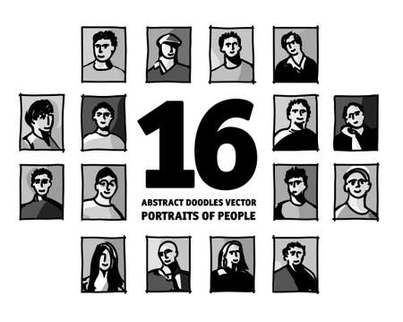 Doodles people portraits set avatars faces monochrome