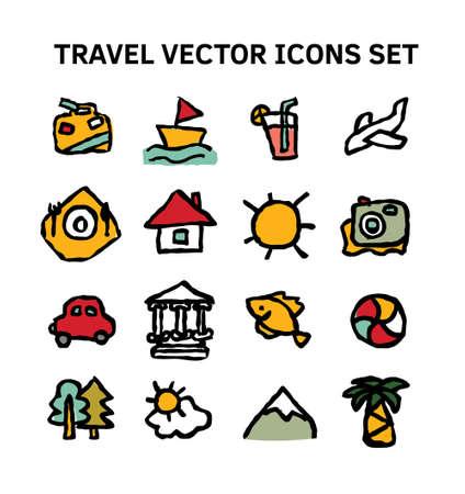 Travel journey tour trip voyage sea rest icons set.