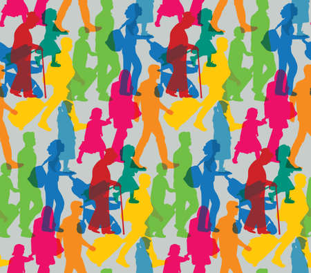 Color happy family people travel silhouette seamless pattern