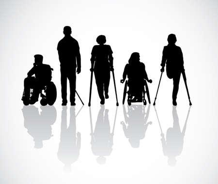 Silhouette groupe personnes handicapées en noir et blanc. Illustration vectorielle monochrome Eps8