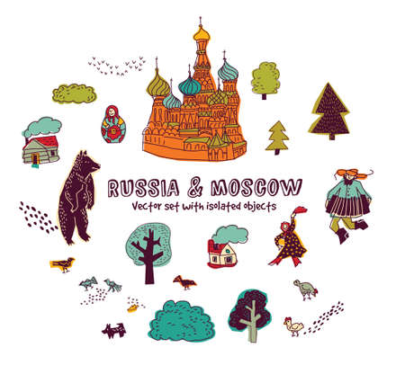 Moscow russia houses beer people birds isolated objects