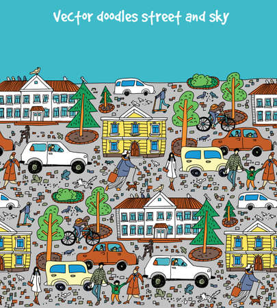 Doodles street in sity people cars houses and blue sky. Color vector illustration EPS8