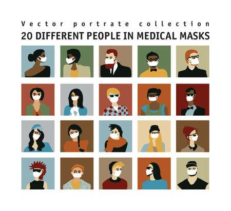Epidemic virus people medical masks people portrate set