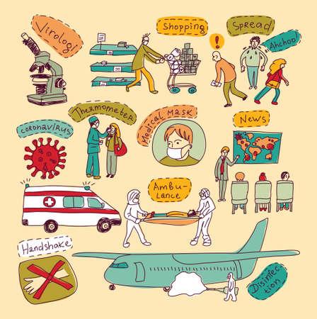 Epidemic pandemic doodles virus scene people set