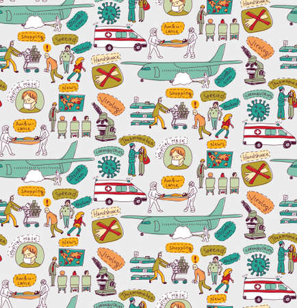 Epidemic pandemic virus scene people seamless pattern