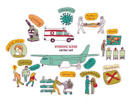 Epidemic pandemic virus scene people isolated objects set on white Illustration