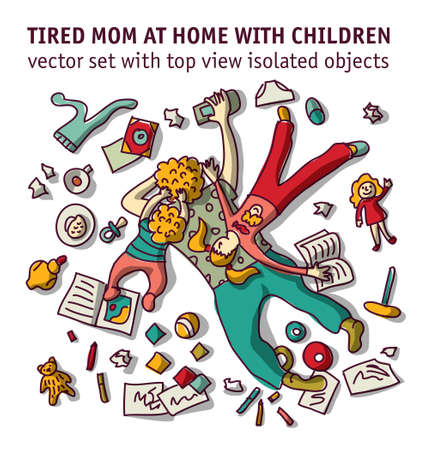 Tired mom home with children isolated objects set