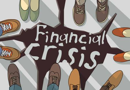 Financial economic crisis busines destruction of footing. . Color vector illustration EPS8 Illusztráció