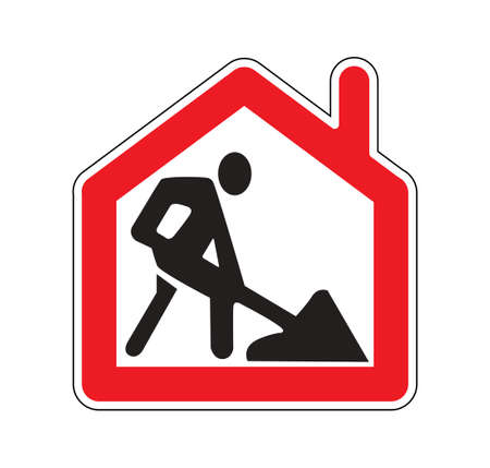 Remote work from home road sign symbol isoalte on white