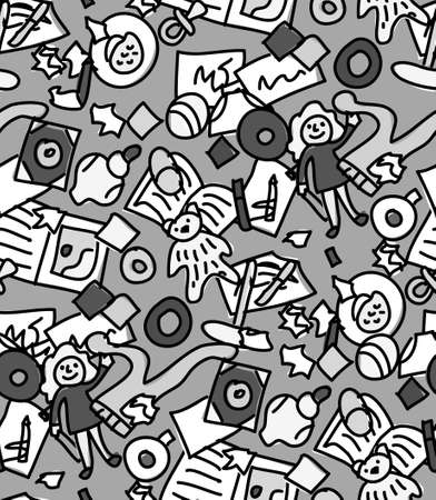Floor with children toys mess seamless pattern gray scale. Monochrome vector illustration
