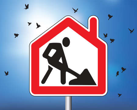 Remote work from home road sign symbol and sky