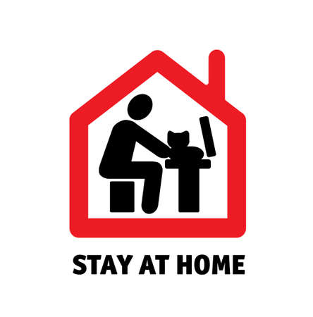 Stay home remote work computer with cat icon sign. Color vector illustration EPS8