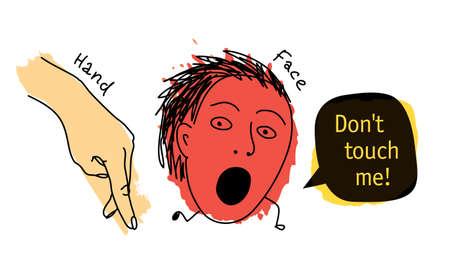 Doodles dont touch me hand face hygiene prohibition Illustration