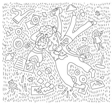 Doodles tired mom home with children black and white Illustration