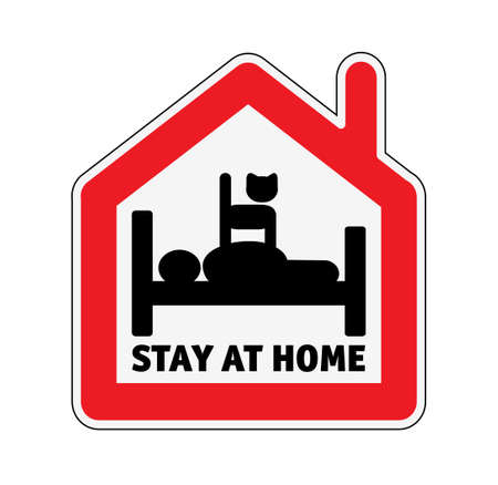 Sign icon stay home men in bed with cat.