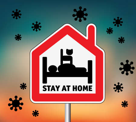 Sign icon stay home men in bed with cat and sky outdoor
