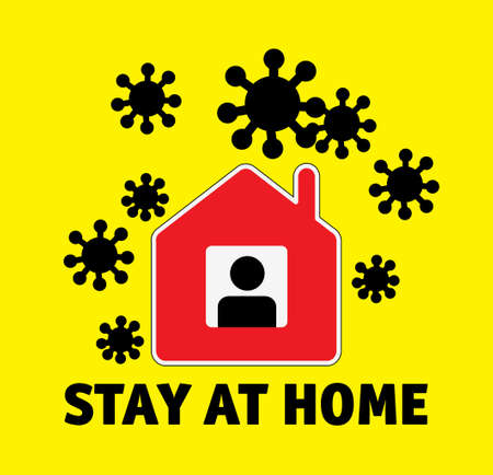 Sign icon stay home men in window and coronavirus outside
