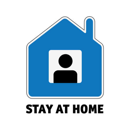 Simple sign icon stay home men in window isolate on white