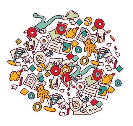 Floor with children toys mess on white Standard-Bild - 145257179