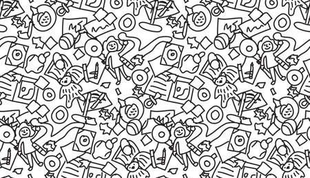 Boden mit Kinderspielzeug Chaos nahtlose Muster schwarz und weiß