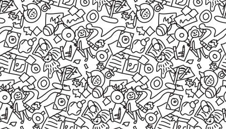 Floor with children toys mess seamless pattern black and white  イラスト・ベクター素材