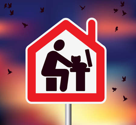 Road sign on sky with birds remote work from home computer