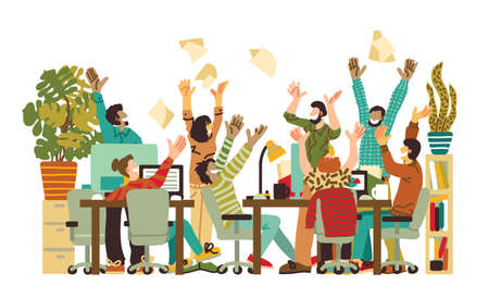 Different happy people in office on white. Color vector illustration EPS8