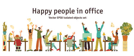 Different happy people in office isolated objects. Color vector illustration EPS8