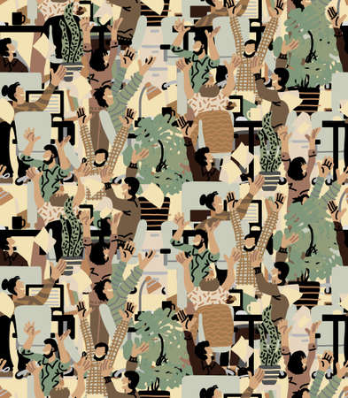 Large group happy people rejoices office seamless pattern