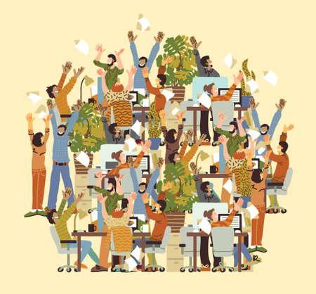 Big Group Different Happy People Rejoices Office. Color vector illustration EPS8 Vektorgrafik