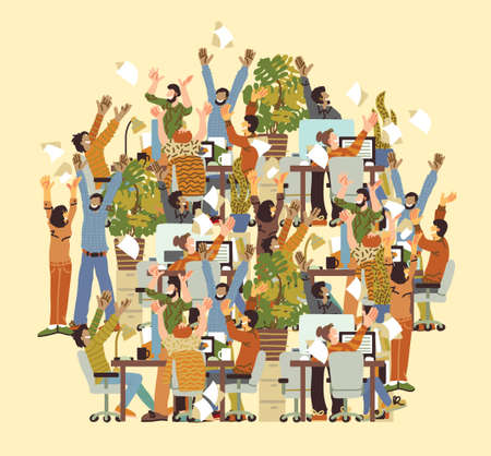 Big Group Different Happy People Rejoices Office. Color vector illustration EPS8  イラスト・ベクター素材