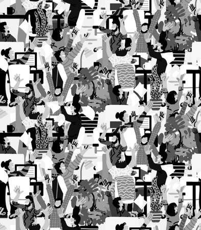 Large group happy people rejoices office grayscale seamless pattern  イラスト・ベクター素材